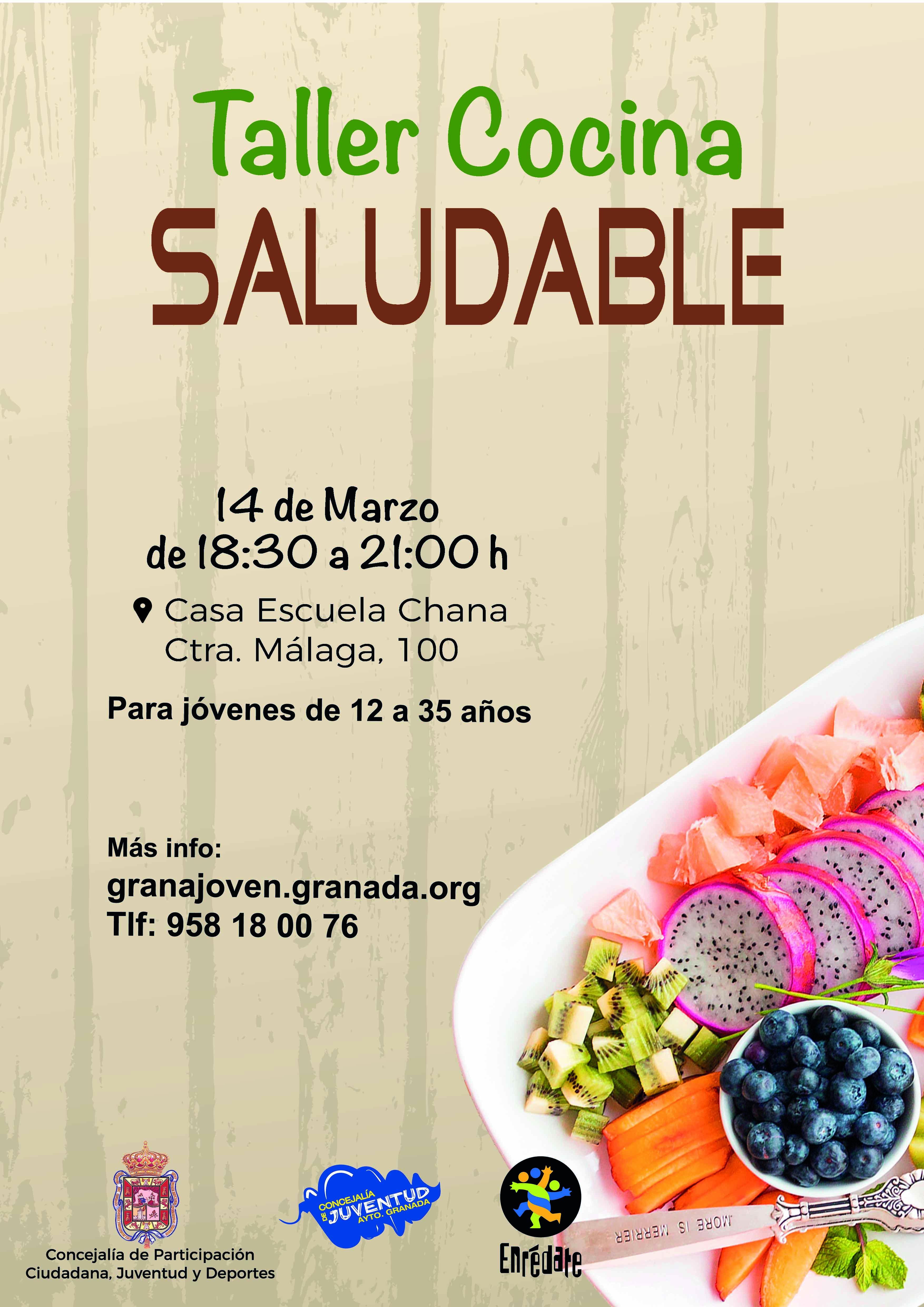 Ayto granada enredate taller de cocina saludable for Cocina saludable